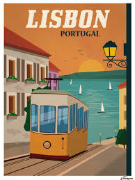 travel posters images Vintage lisbon travel poster vintage poster canvas jpg