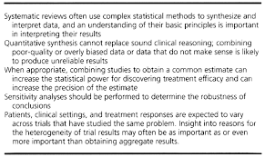 quantitative synthesis in systematic reviews annals of internal