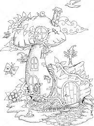 black and white illustration of a fairy house for coloring