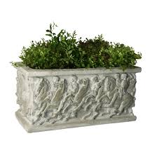 outdoor statuary rectangular planter box for classic garden decor