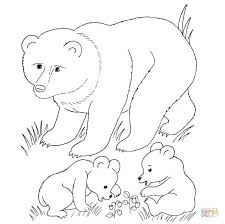 bear mother and bear cubs coloring page free printable coloring