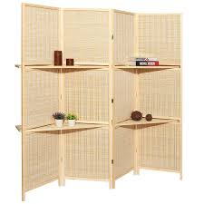 amazon com deluxe woven beige bamboo 4 panel folding room divider