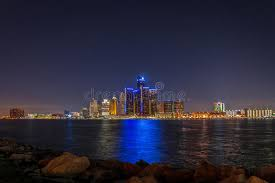christmas lights in michigan detroit skyline at night with christmas lights stock image image