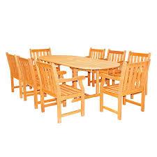 Eucalyptus Outdoor Table by Shop Vifah 9 Piece Natural Eucalyptus Patio Dining Set At Lowes Com