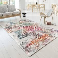 Esszimmer Teppich Teppich Modern Designer Teppich Bunt Ornament Muster Design Creme