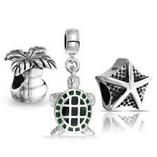 sterling nautical turtle starfish palm tree bead set fits pandora