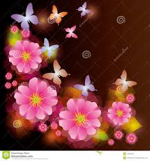abstract background with flower and butterfly royalty free stock