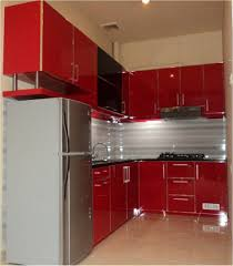 small corner red black gray kitchen design l shaped contemporary