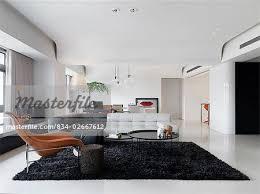 Modern Black Rug Large Modern Living Room With Black Shag Rug Stock Photo