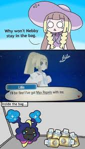 lillie s got max repels get in the bag nebby know your meme