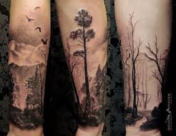 collection of 25 forest tree and birds leg sleeve tattoos