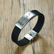 silicone bracelet black images Free engraving stainless steel id waterproof silicone bracelet in jpg