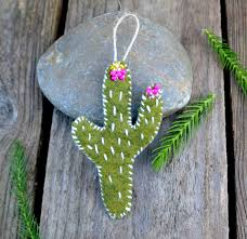 hand sewn cactus hand embroidered felt cactus ornament cacti