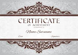 certificate of achievement template with floral vintage frame