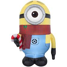 Minion Christmas Window Decorations by Shop Gemmy 8 95 Ft X 4 65 Ft Lighted Minion Christmas Inflatable