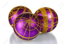 beautiful purple christmas balls isolated on white stock photo