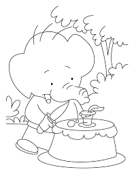 birthday coloring sheets elephant baby celebrating his birthday in jungle coloring pages