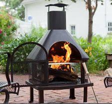 Fire Pit Backyard 4 Ft Chiminea Outdoor Wood Fireplace Large Patio Backyard Fire