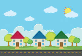 three houses with three houses along the road vector free