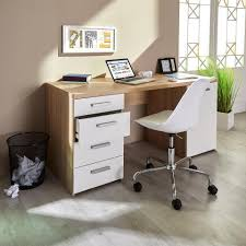 Schreibtischplatte Mit Schubladen Moderner Schreibtisch In Weiß Mit Stahlgriffen Schreibtisch