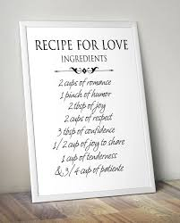 recipe for love printable wall art home decor love poster romantic