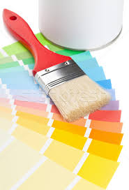 color chart guide with brush and paint bucket stock photo shawn