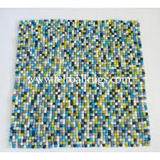 Wool Ball Rug 100x100cm Blue Shade Square Felt Ball Rug Felt Ball U0026 Rugs