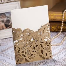 Customized Wedding Invitations 20pieces High Class Wedding Invitation Card Laser Cut Flower Gold