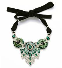 green gem necklace images Adjustable long ribbon green gem statement flower bib necklace jpg
