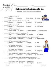 esl kids worksheets jobs u0026 occupations actions u0026 places worksheets