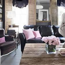 Living Room With Black Leather Furniture by Pink And Brown Living Rooms Design Ideas