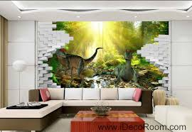 3d jurassic world dinosaur forest stream sunshine brick wallpaper