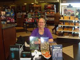 pamela k kinney at her signing table at barnes and noble at short