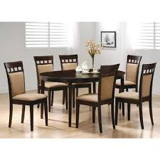 Wooden Dining Table Chairs 7pc Contemporary Cappuccino Finish Solid Wood Dining
