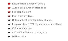 Printer Resume He3d H500 Diy 3d Printer 400 X 400 X 500mm Printing 110v Us