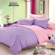 pastel modern polyester bedding set purple and pink polka dot
