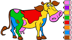 cow coloring page for kids how to draw cow learn colors youtube