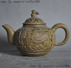 bunny tea set yixing zisha pottery carved rabbit bunny teapot tea