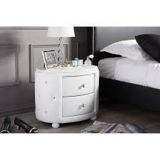 baxton studio davina hollywood glamour style oval 2 drawer white