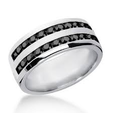mens black engagement rings 1ct two row s black wedding band channel ring