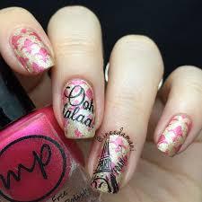 paris nail art done using nail stamping plates from the