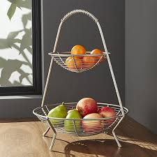 fruit basket handled 2 tier wire fruit basket crate and barrel
