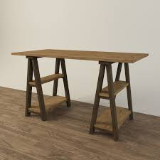 restoration hardware sawhorse trestle desk 3d model max obj fbx mtl