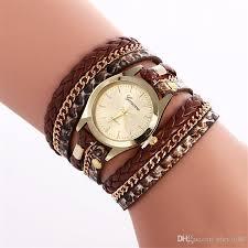 ladies leather strap bracelet images Vintage ladies women bracelets watches fashion colorful weave wrap jpg