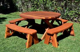 Diy Small Round Wood Park Picnic Table With Detached Octagon Bench by Wooden Picnic Tables Classic Beautiful Loccie Better Homes