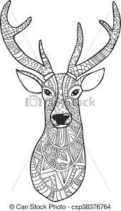 clip art vector deer hand drawn reindeer ethnic doodle