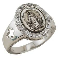 sterling silver miraculous medal ring w crosses the catholic