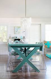 Teal Dining Table by Embrace The Relaxed Style Of Indoor Picnic Tables