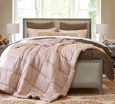 Quilted Cotton Coverlet Portia Cotton Silk Quilt And Sham Pottery Barn