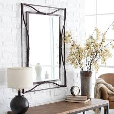 Home Interiors Mirrors Furniture Black Leaner Mirror With Bookcase On Wooden Floor For